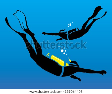 vector illustration of scuba