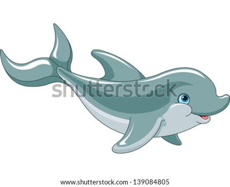 swimming dolphin isolated on