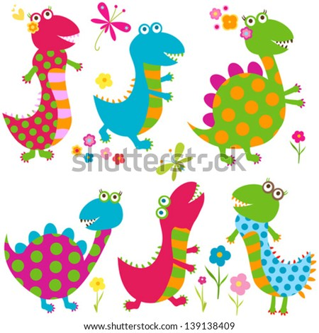 dinos set  happy cute colorful