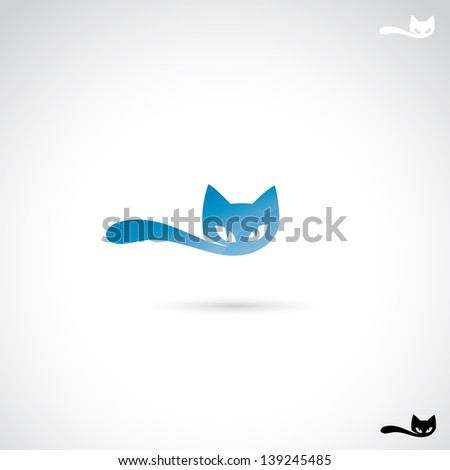 cat label   vector illustration