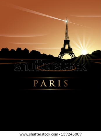 eiffel tower sunset   vector