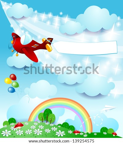 spring background with airplane