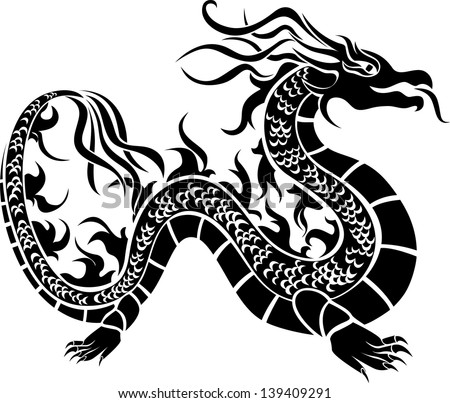 asian dragon  black stencil