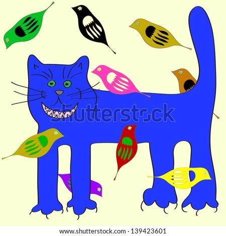 happy blue cat with birds