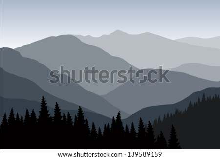vector landscape in mountains