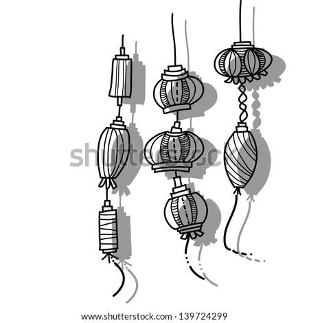 hand drawing lantern festival