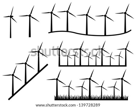 set of windmills illustrated on