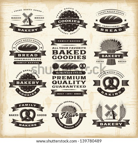 vintage bakery labels set