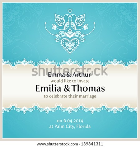 blue wedding invitation design