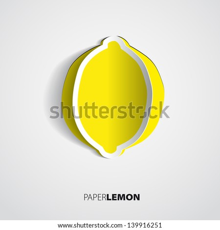 greeting card with paper lemon