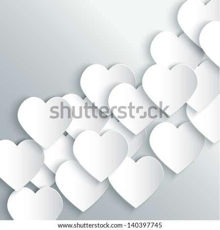 paper hearts background vector