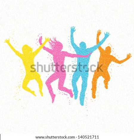 jumping people mosaic   vector