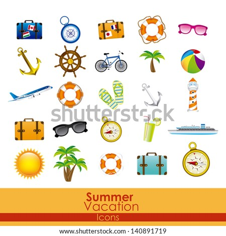 summer vacation icons over