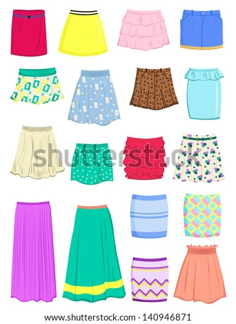 set of summer skirts isolated