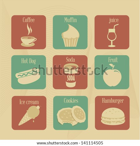 food and drink icons over
