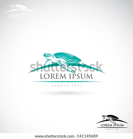 sea turtle label   vector