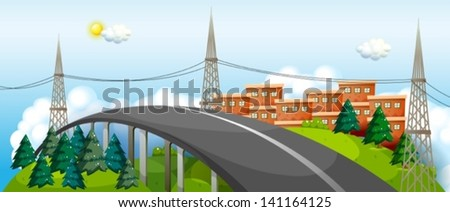 illustration of a curve road in