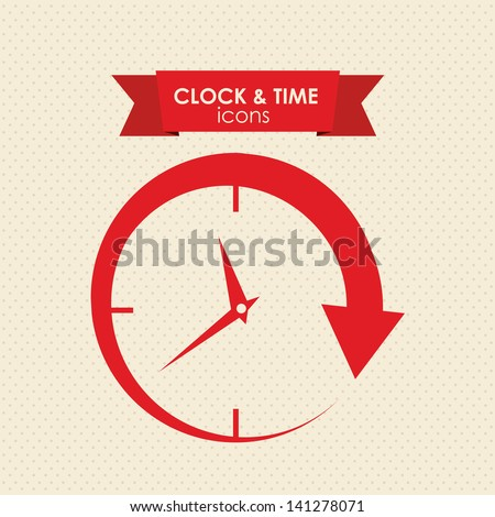 clock and time icon over white