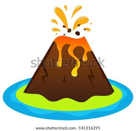 explosing volcano island