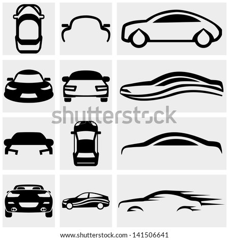 car vector icon set on gray