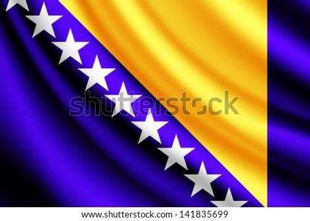 waving flag of bosnia and