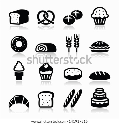 bakery  pastry icons set