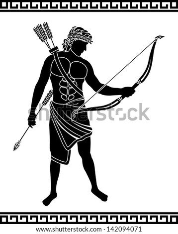 ancient bowman stencil vector