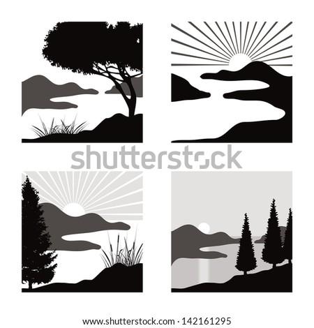 stylized coastal landscape