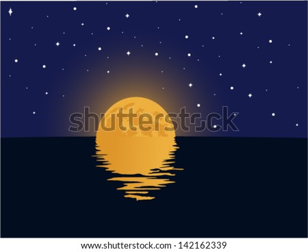 vector moon over cold night sea