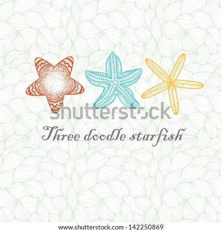 three doodle textured starfish