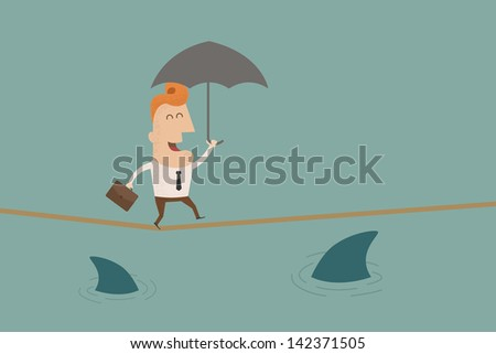 businessman on a suspended rope