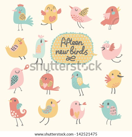 cute birds in vector cartoon