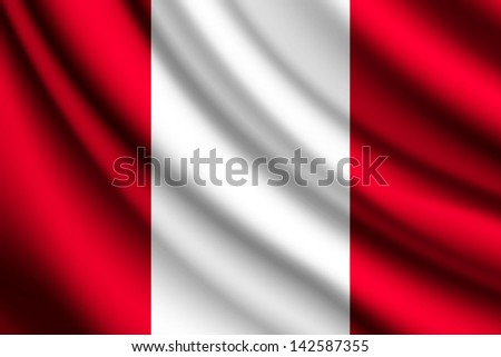 waving flag of peru  vector