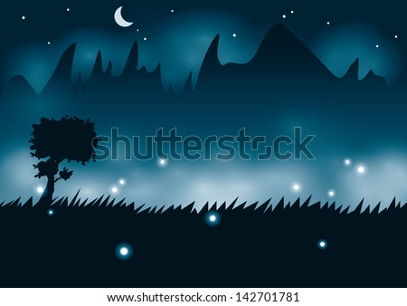 night view with tree silhouette