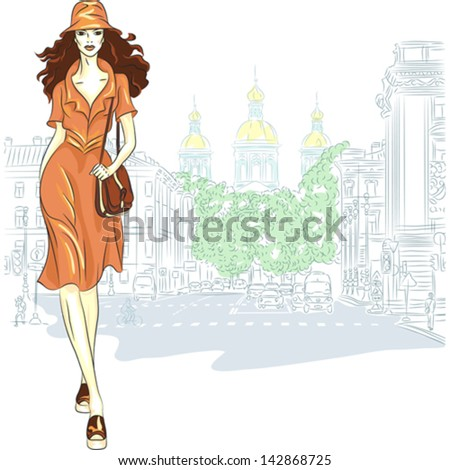 vector lovely fashion girl in