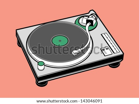 vector turntable dj music party