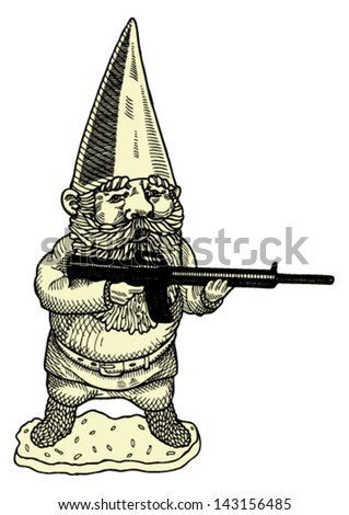 funny gnome with gun
