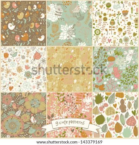 set of nine floral vintage