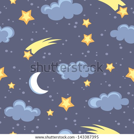 night sky seamless pattern in