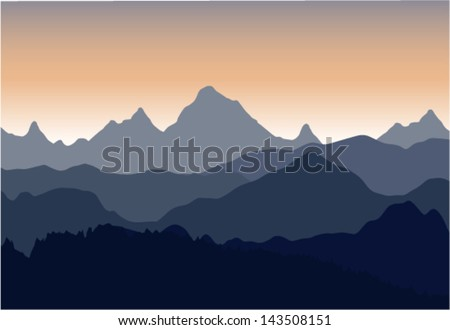 vector scenery of evening at