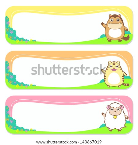 three cute animals set of