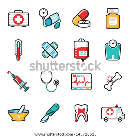 medicine icons set  happy series
