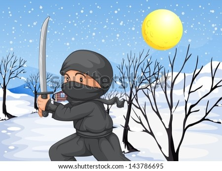 illustration of a ninja with a