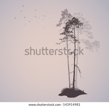 air landscape with silhouettes