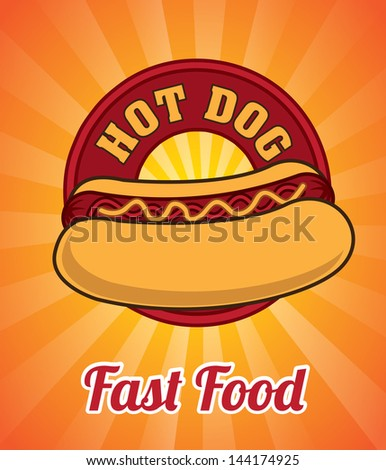 hot dog design over orange
