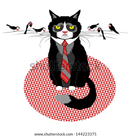 cat tie with birds in bows on