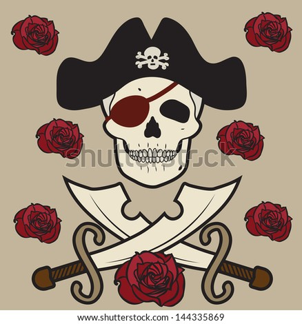 skull pirates on rose