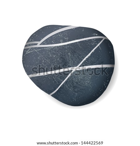 black striped pebble on white
