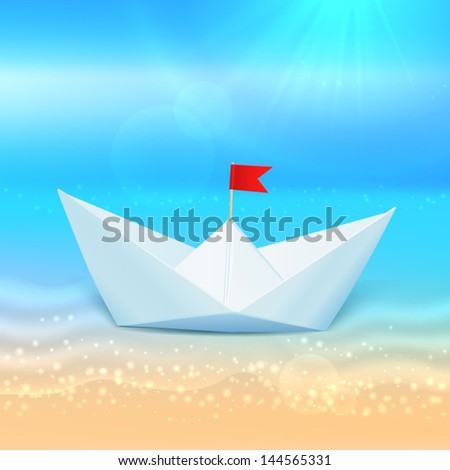 little vector paper boat in a