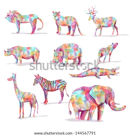 set of wild animal vector